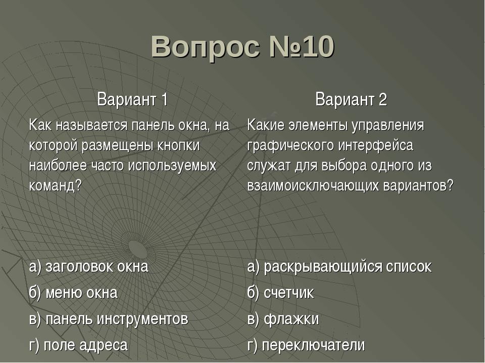 Вопрос №10 Вариант 1Вариант 2 Как называется панель окна, на которой размеще...