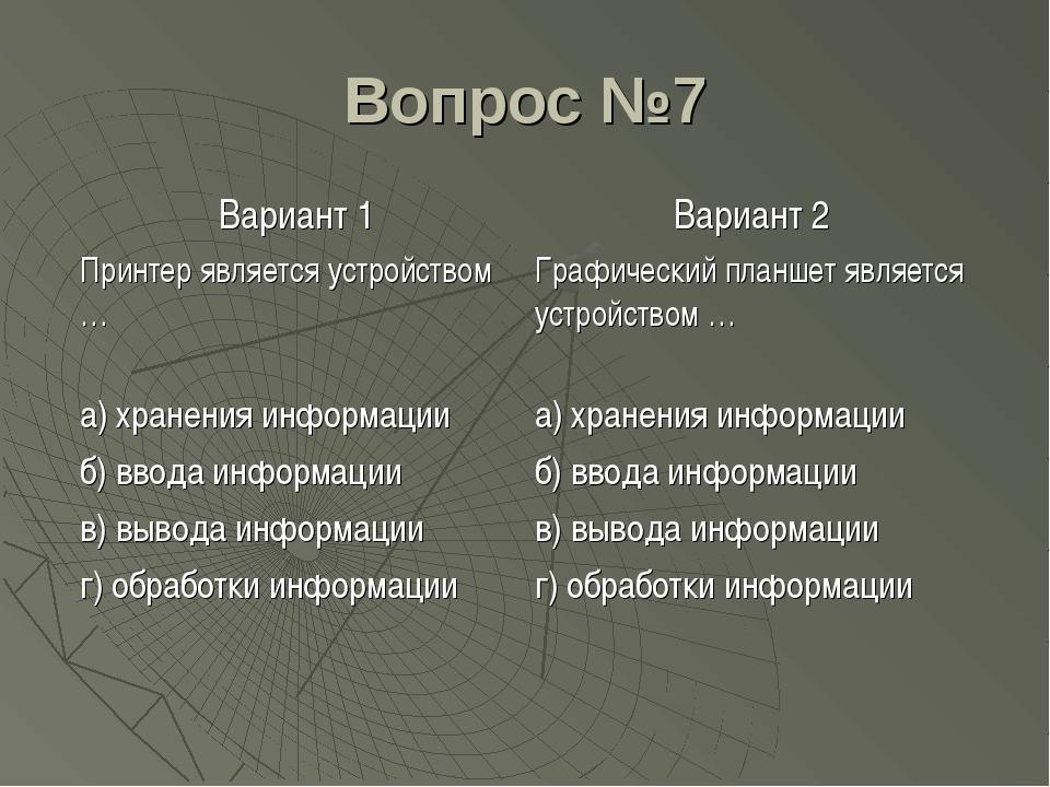 Вопрос №7 Вариант 1Вариант 2 Принтер является устройством …Графический план...