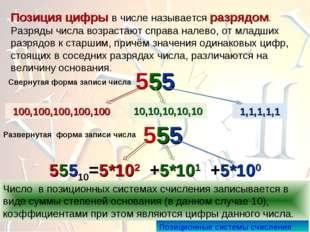 Позиция цифры в числе называется разрядом. Разряды числа возрастают справа на