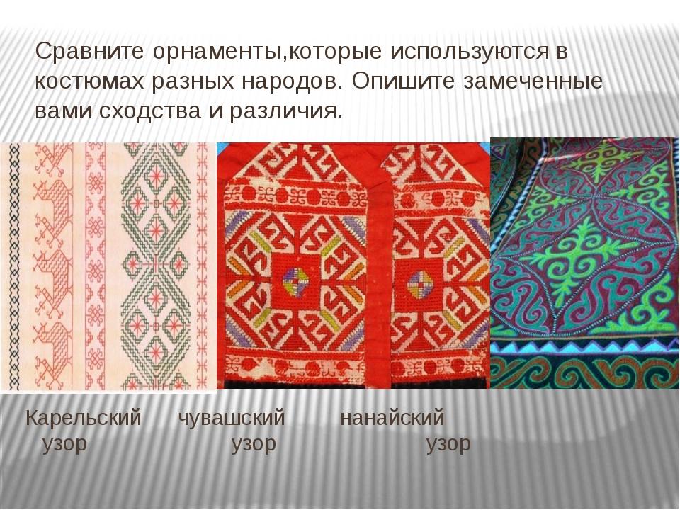 Карельский чувашский нанайский узор узор узор Сравните орнаменты,которые исп...