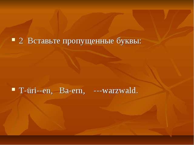 2 Вставьте пропущенные буквы: T-üri--en, Ba-ern, ---warzwald.