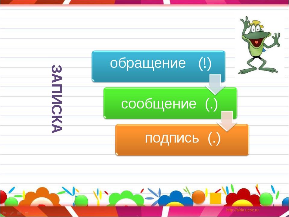 ЗАПИСКА обращение (!) сообщение (.) подпись (.)