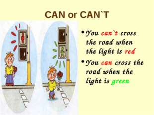 CAN or CAN`T You can`t cross the road when the light is red You can cross the