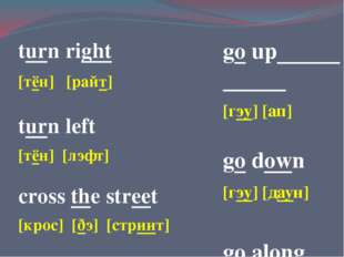turn right [тён] [райт] turn left [тён] [лэфт] cross the street [крос] [ðэ] [