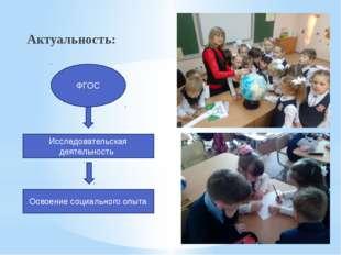 Актуальность: Исследовательская деятельность Освоение социального опыта ФГОС