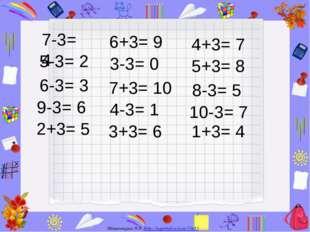 7-3= 4 5-3= 2 6-3= 3 9-3= 6 2+3= 5 6+3= 9 3-3= 0 7+3= 10 4-3= 1 3+3= 6 4+3=