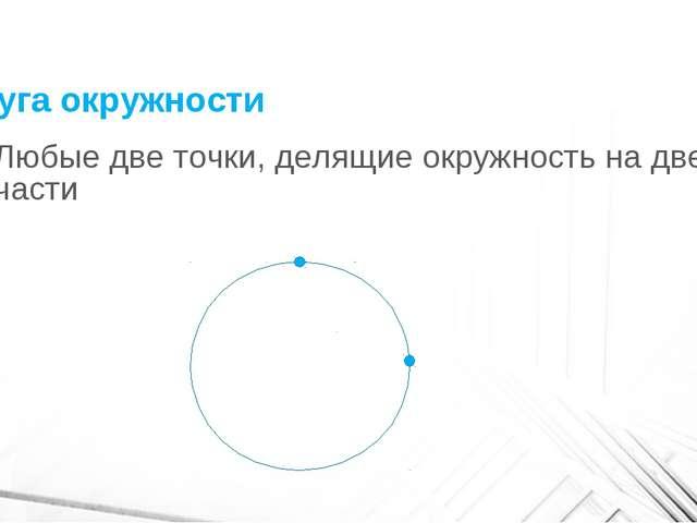 Дуга окружности Любые две точки, делящие окружность на две части