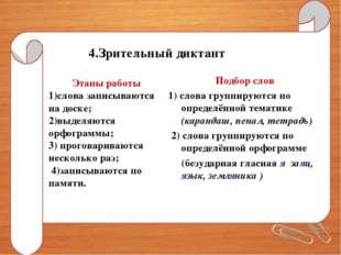 4.Зрительный диктант Этапы работы 1)слова записываются на доске; 2)выделяются