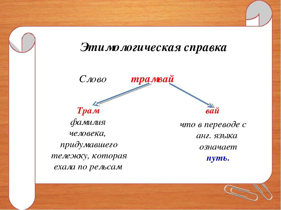 Этимологическая справка Слово трамвай Трам фамилия человека, придумавшего тел...