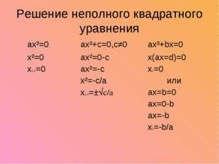Решение неполного квадратного уравнения ax²=0ax²+c=0,c≠0ax²+bx=0 x²=0 x1,2=