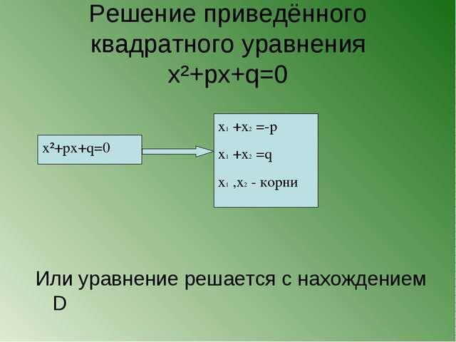 Решение приведённого квадратного уравнения x²+px+q=0 x²+px+q=0 x1 +x2 =-p x1...