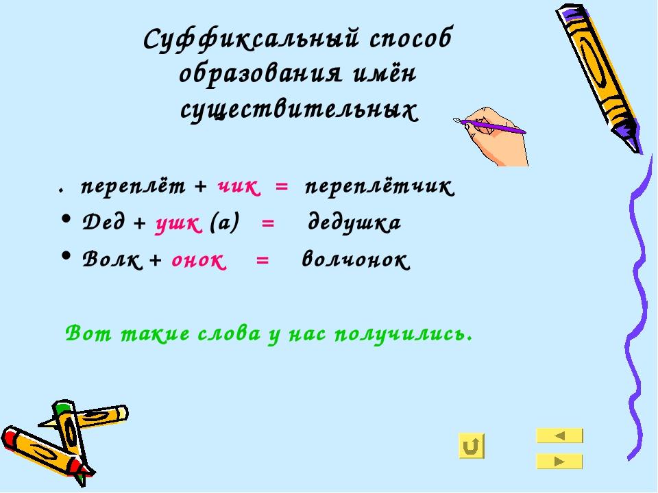 Суффиксальный способ образования имён существительных . переплёт + чик = пере...