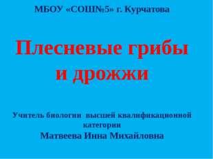 МБОУ «СОШ№5» г. Курчатова Плесневые грибы и дрожжи Учитель биологии высшей кв