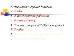 3. Трансляция осуществляется: А. В ядре В. В цитоплазме на рибосомах С. В мит