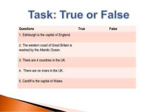Questions	True	False 1. Edinburgh is the capital of England.		 2. The western