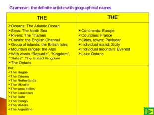 Grammar: the definite article with geographical names THE THE Oceans: The At