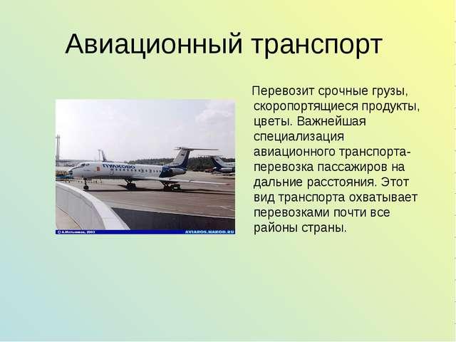 Авиационный транспорт Перевозит срочные грузы, скоропортящиеся продукты, цвет...