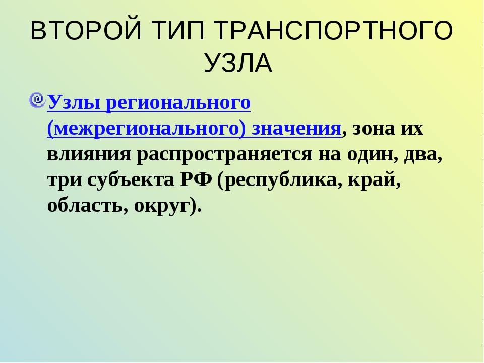 ВТОРОЙ ТИП ТРАНСПОРТНОГО УЗЛА Узлы регионального (межрегионального) значения,...