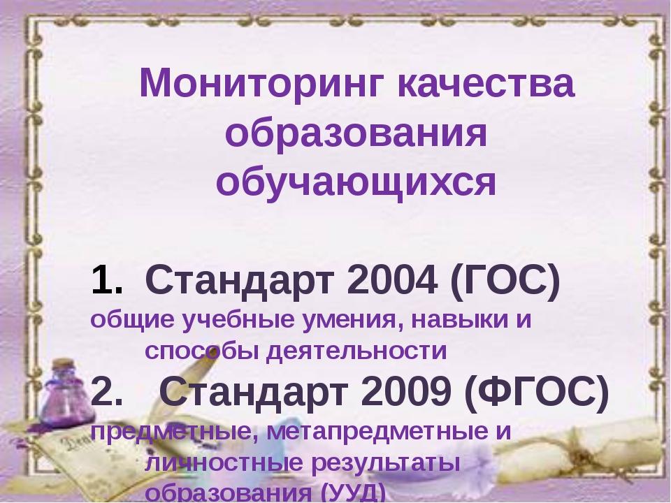 Мониторинг качества образования обучающихся Стандарт 2004 (ГОС) общие учебны...
