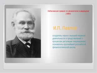 И.П. Павлов создатель науки о высшей нервной деятельности и представлений о п