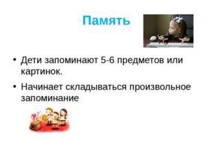 Память Дети запоминают 5-6 предметов или картинок. Начинает складываться прои