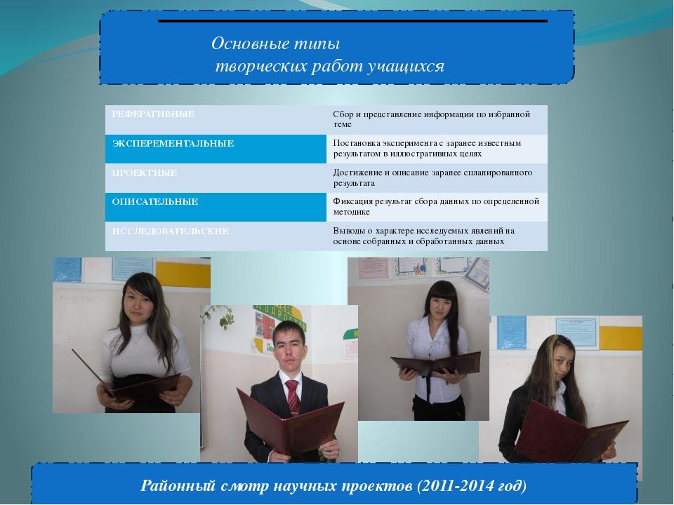 Основные типы творческих работ учащихся Районный смотр научных проектов (201...