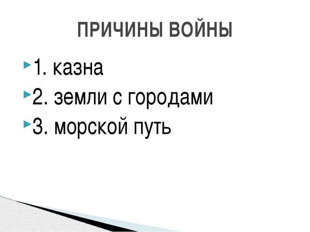 1. казна 2. земли с городами 3. морской путь ПРИЧИНЫ ВОЙНЫ