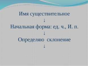 Имя существительное ↓ Начальная форма: ед. ч., И. п. ↓ Определяю склонение ↓