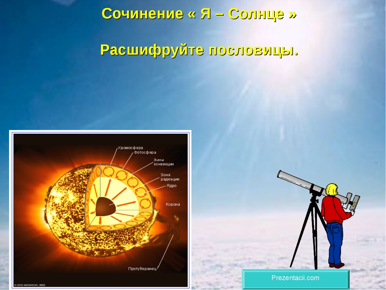 Сочинение « Я – Солнце » Расшифруйте пословицы. Prezentacii.com