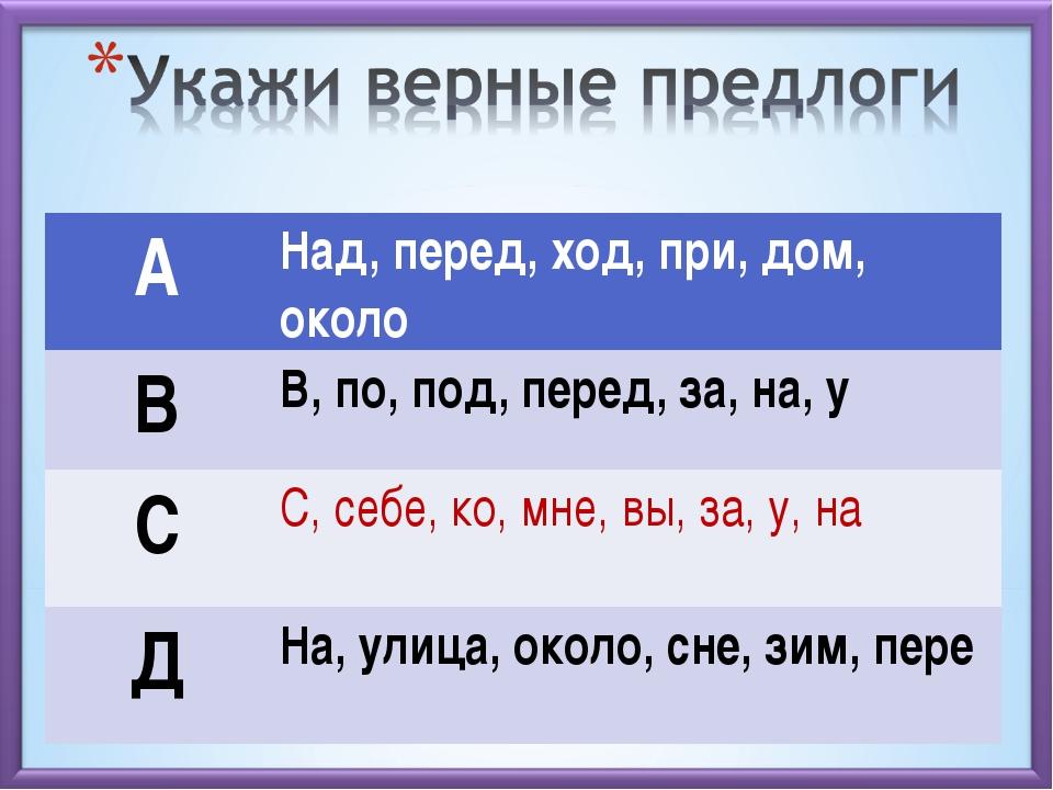 АНад, перед, ход, при, дом, около ВВ, по, под, перед, за, на, у СС, себе,...