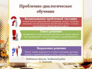 Проблемно-диалогическое обучение Тамбовская область, Тамбовский район С. Тули