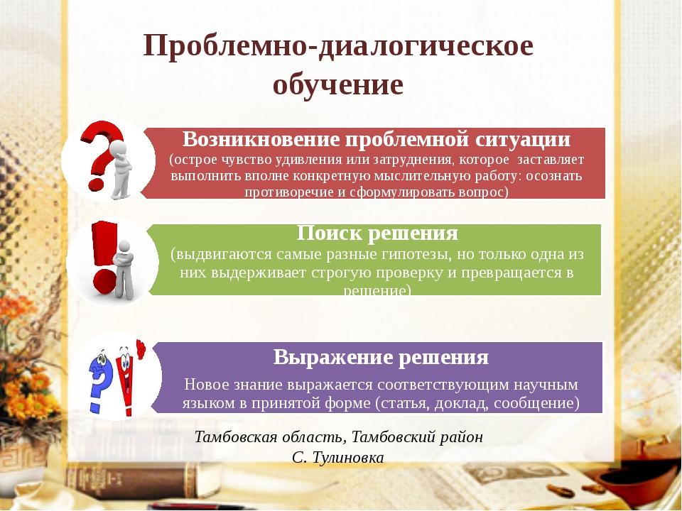 Проблемно-диалогическое обучение Тамбовская область, Тамбовский район С. Тули...