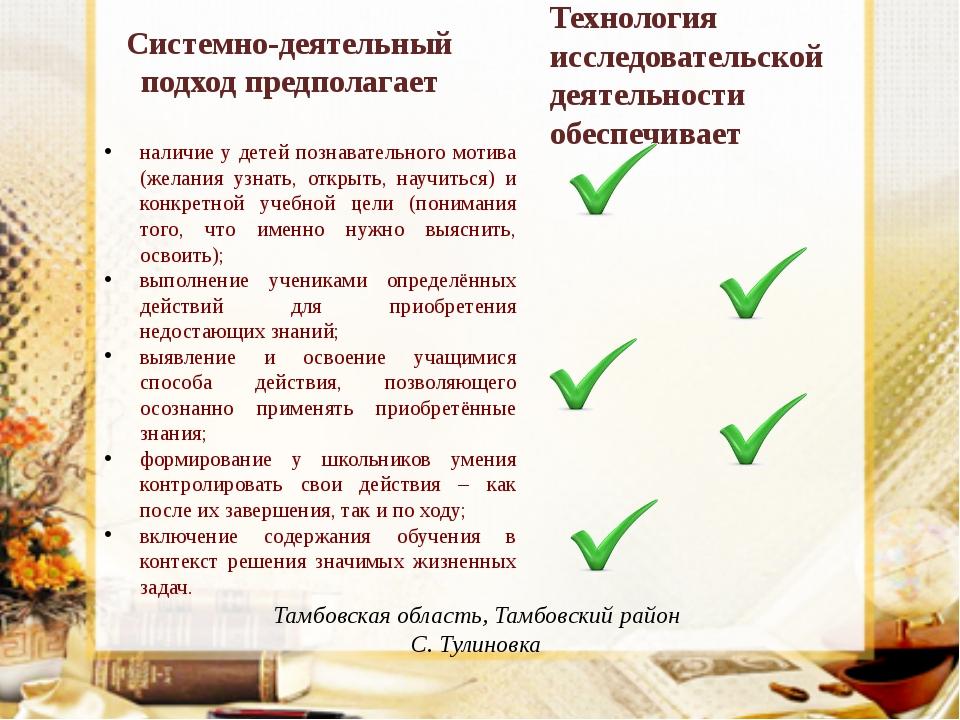 Тамбовская область, Тамбовский район С. Тулиновка наличие у детей познаватель...