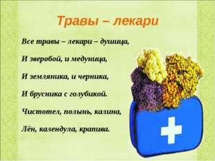 Травы – лекари Все травы – лекари – душица, И зверобой, и медуница, И земляни