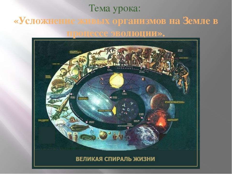 Тема урока: «Усложнение живых организмов на Земле в процессе эволюции».