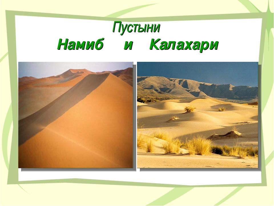 Пустыни Намиб и Калахари