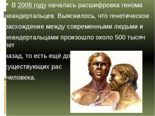 В2006 году началась расшифровка генома неандертальцев.Выяснилось, что генет