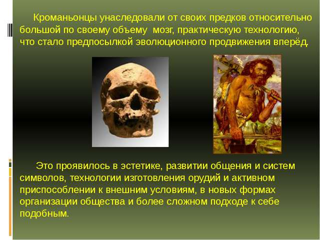 Кроманьонцы унаследовали от своих предков относительно большой по своему объ...