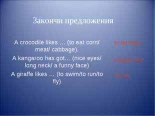 Закончи предложения A crocodile likes … (to eat corn/ meat/ cabbage). A kang