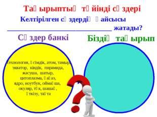 Тақырыптың түйінді сөздері Келтірілген сөздердің қайсысы ___________________