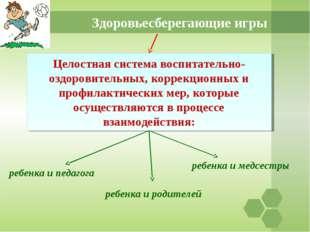 Здоровьесберегающие игры Целостная система воспитательно-оздоровительных, кор
