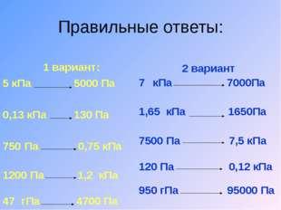 Правильные ответы: 1 вариант: 5 кПа 5000 Па 0,13 кПа 130 Па Па 0,75 кПа Па 1,