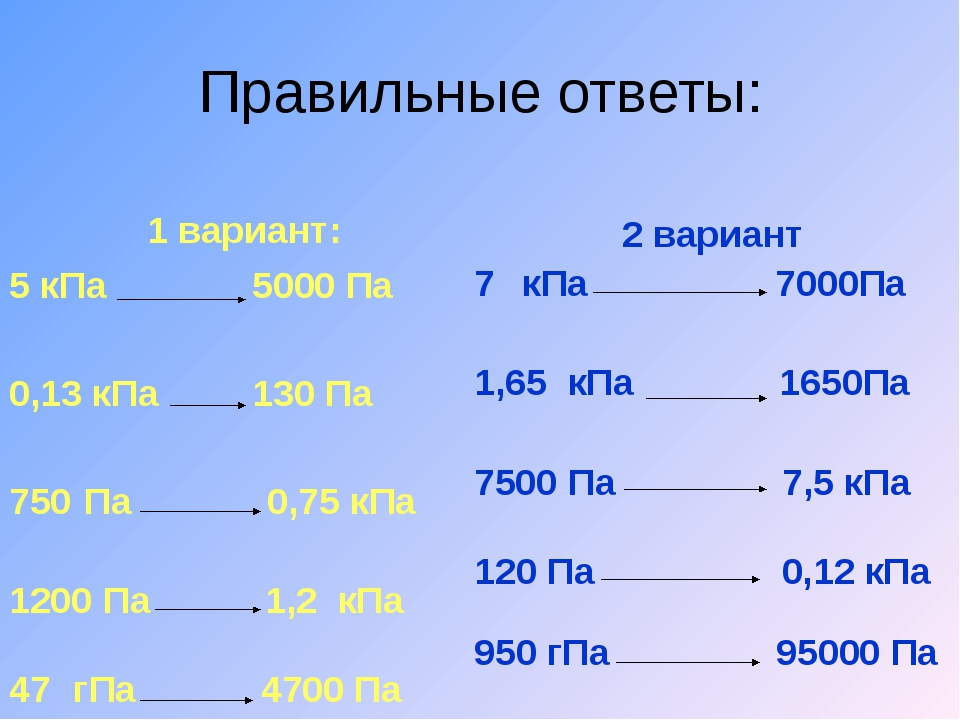 Правильные ответы: 1 вариант: 5 кПа 5000 Па 0,13 кПа 130 Па Па 0,75 кПа Па 1,...