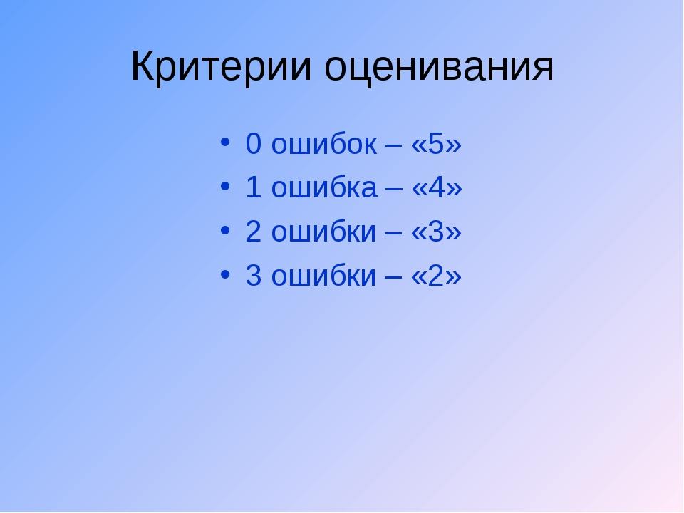 Критерии оценивания 0 ошибок – «5» 1 ошибка – «4» 2 ошибки – «3» 3 ошибки – «2»