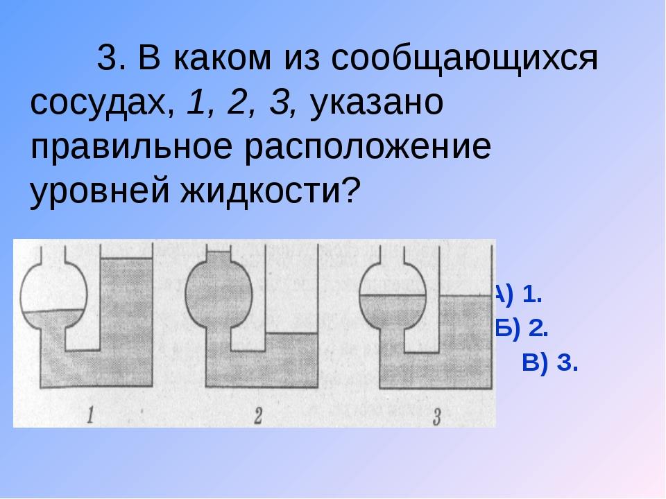 3. В каком из сообщающихся сосудах, 1, 2, 3, указано правильное расположение...