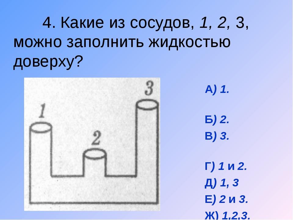 4. Какие из сосудов, 1, 2, 3, можно заполнить жидкостью доверху? А) 1. Б) 2....