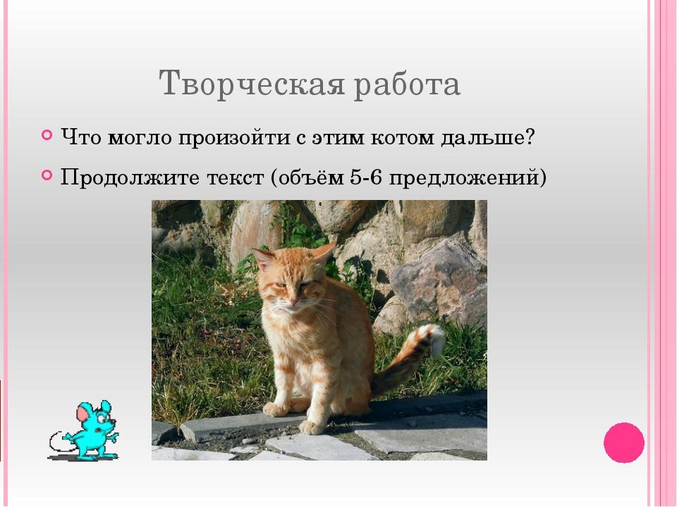 Творческая работа Что могло произойти с этим котом дальше? Продолжите текст (...