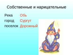 Собственные и нарицательные Река город поселок Обь Сургут Дорожный