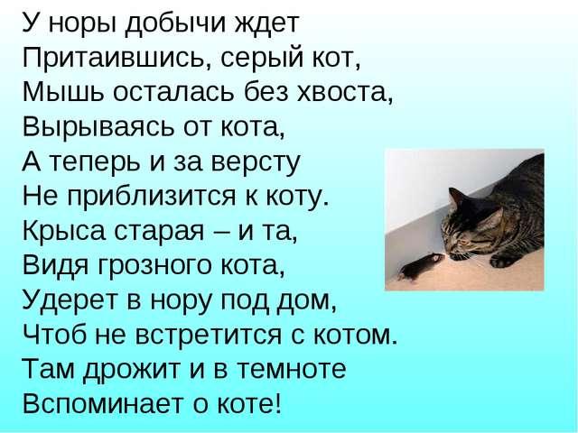 У норы добычи ждет Притаившись, серый кот, Мышь осталась без хвоста, Вырываяс...