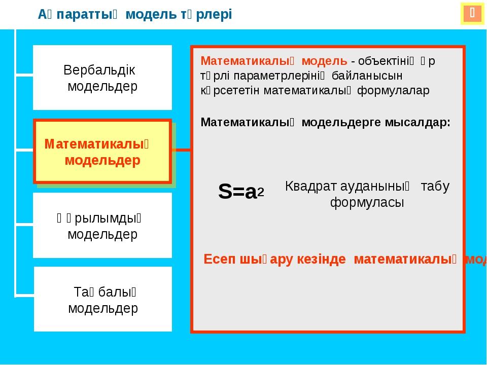  Ақпараттық модель түрлері  Вербальдік модельдер Құрылымдық модельдер Таңба...